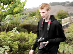 Sexy redhead twink makes some pictures of nature