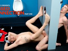 Teen twink enjoyed sucking cock in glory hole in bathroom