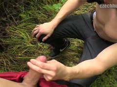 Twink seduced young blonde guy to suck dick outdoors