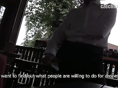 Sexy looking waiter gets paid for hanjobbing client's cock