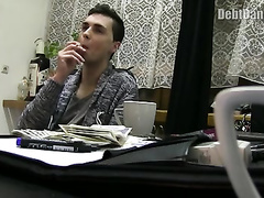 Naughty young guy is imitating a dog to get pretty much money