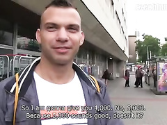 Sexy handsome young gay met rich stranger on street