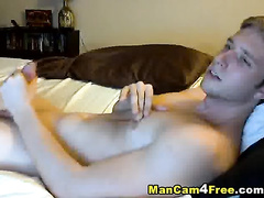 Skinny young blonde twink is having passionate dick wank