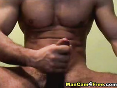 Twink is showing sexy strong chest and huge dick