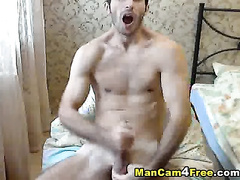 Skinny gay guy is pleasuring steaming hot masturbation