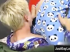 Blonde boy is swallowing juicy pole of his new friend