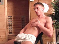 Man in white panty shorts masturbating