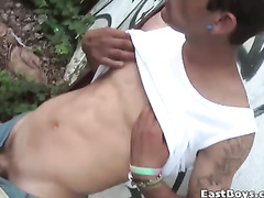 Latin amateur in horny outdoor masturbation