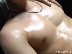 Guy masturbates his friend's big cock