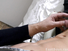 Young boy is spying his friend's cock outdoor