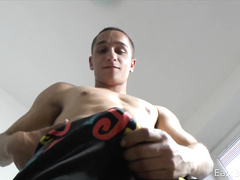 Erotic gay strip followed by masturbation